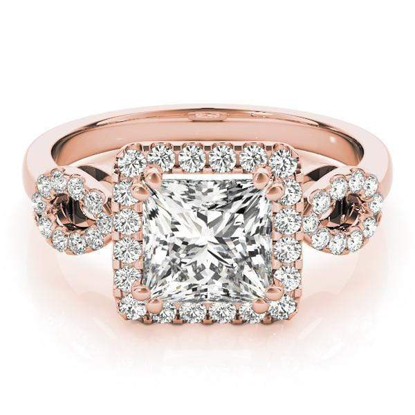 Princess Brilliant Shape Halo Diamond Engagement Ring with Square Border & Infinity Accent Diamonds-Angelucci-Jewelry