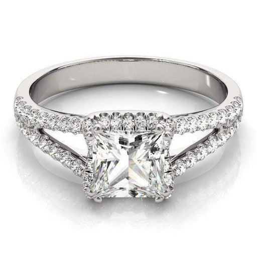 Double Shank Princess Shape Halo Diamond Engagement Ring with Prongs Setting-Angelucci-Jewelry