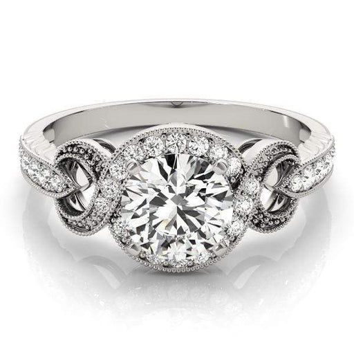 Round Brilliant Shape Halo Diamond Engagement Ring with Infinity Crossover Shank & Milgraine Borders-Angelucci-Jewelry