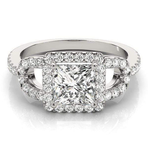 Princess Shape Halo Diamond Engagement Ring with Square Border & Accent Diamonds-Angelucci-Jewelry