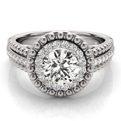 Round Brilliant Shape Halo Diamond Engagement Ring with Accent Diamonds & Large Milgraine Borders-Angelucci-Jewelry