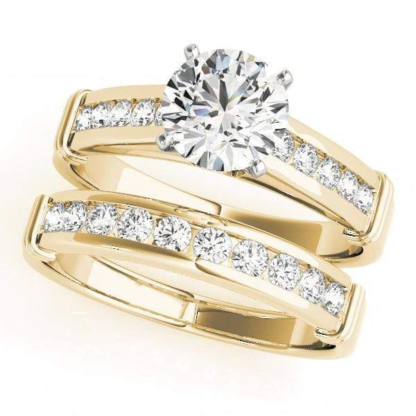 Angelucci-jewelry Round Shape 14-Karat Channel Set Diamond Engagement Ring with Cathedral Setting