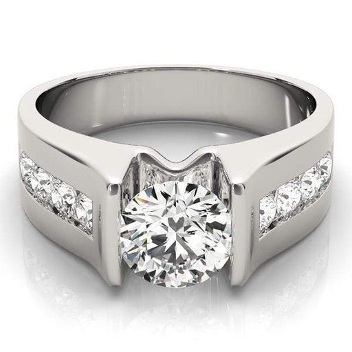 Angelucci-jewelry Round Shape 14-Karat Single Row Channel Set Diamond Engagement Ring with Tension Setting