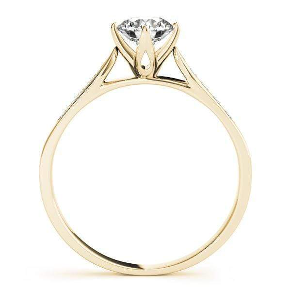 Angelucci-jewelry Round Shape 14-Karat Single Row Channel Set Diamond Engagement Ring with Cathedral Setting Flower Prong
