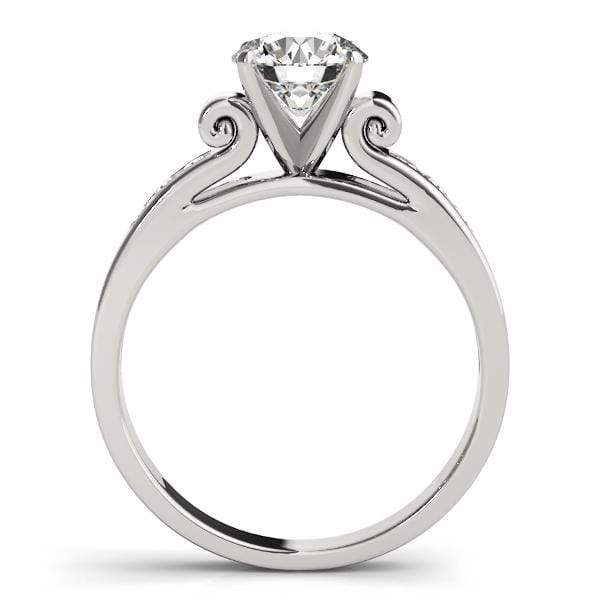 Angelucci-jewelry Round Shape 14-Karat Single Row Channel Set Diamond Engagement Ring with Ornate Gallery Motif
