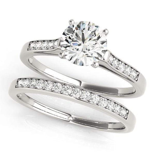 Angelucci-jewelry Round Brilliant Shape 14-Karat Single Row Channel Set Diamond Engagement Ring with Ten Diamonds