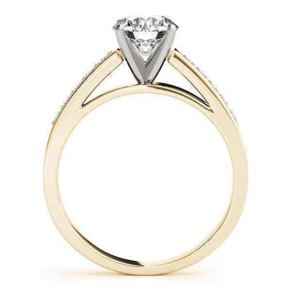 Angelucci-jewelry Round Shape 14-Karat Single Row Ten Diamond Channel Set Diamond Engagement Ring with Cathedral Setting