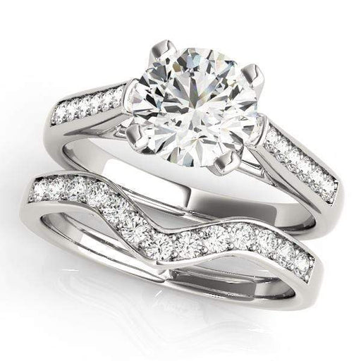 Angelucci-jewelry Round Brilliant Shape 14-Karat Single Row Channel Set Diamond Engagement Ring with Cathedral Setting
