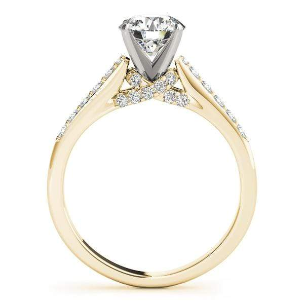 Angelucci-jewelry Round Brilliant Shape 14-Karat Single Row Channel Set Diamond Engagement Ring with Trellis Diamond Accents