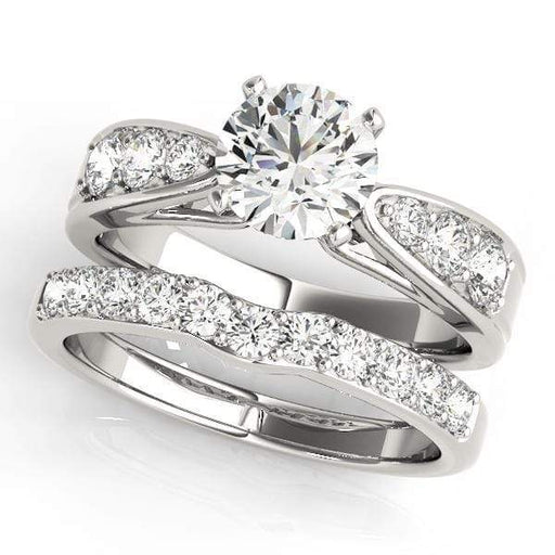 Angelucci-jewelry Round Shape 14-Karat Single Row Channel Set Diamond Engagement Ring with Tapered Band