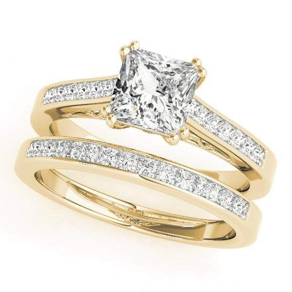 Angelucci-jewelry Princess Shape 14-Karat Channel-Set Diamond Engagement Ring with Gallery Accent Diamond
