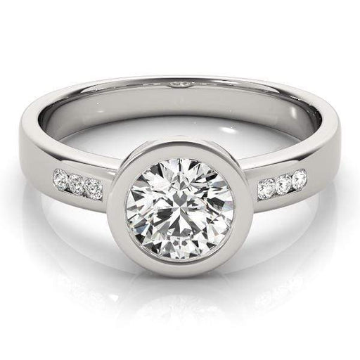 Angelucci-jewelry Round Shape 14-Karat Single Row Bezel Channel Set Diamond Engagement Ring