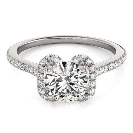 Round Brilliant Shape Split Halo Diamond Engagement Ring with Accent Diamonds & Petite Prong Setting-Angelucci-Jewelry