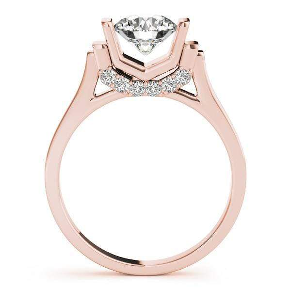angelucci-jewelry-Round Brilliant Shape 14-Karat V-Set Solitaire Diamond Engagement Ring with Diamond Accents