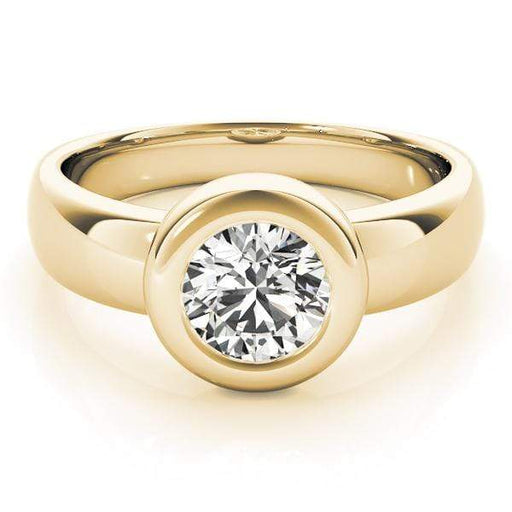 angelucci-jewelry-Round Brilliant Shape 14-Karat Bezel-Set Solitaire Diamond Engagement Ring Plain Band