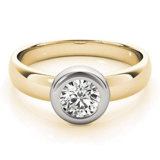 angelucci-jewelry-Round Brilliant Shape 14-Karat 2-Tone Bezel-Set Solitaire Diamond Engagement Ring Plain Band