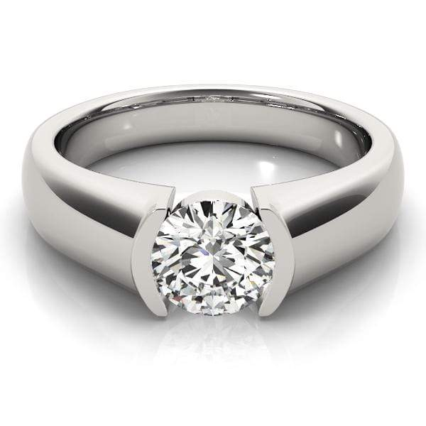 angelucci-jewelry-Tension-Set Round Brilliant Shape 14-Karat Solitaire Diamond Engagement Ring