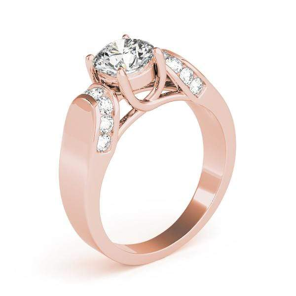 angelucci-jewelry-Round Brilliant Shape 14-Karat Trellis Solitaire Diamond Engagement Ring with Channel-Set Accent Diamonds