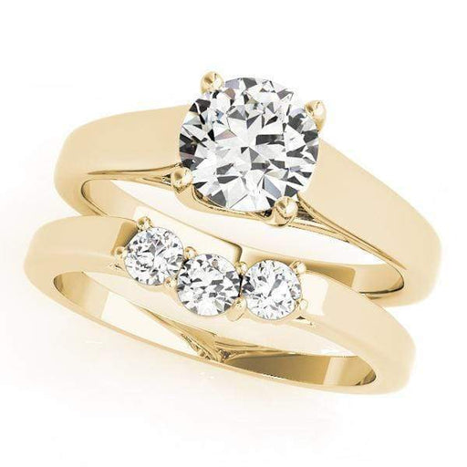 angelucci-jewelry-Round Brilliant Shape 14-Karat Trellis Solitaire Diamond Engagement Ring Plain Band