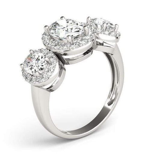 angelucci-jewelry-3 Stone Oval Shape Halo Diamond Engagement Ring