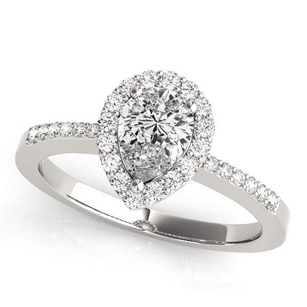 GemFindRing 7 / 14K White Gold / SI1-SI2| G-H / 0.73 ENGAGEMENT RINGS HALO PEAR & TRILLION angelucci-jewelry