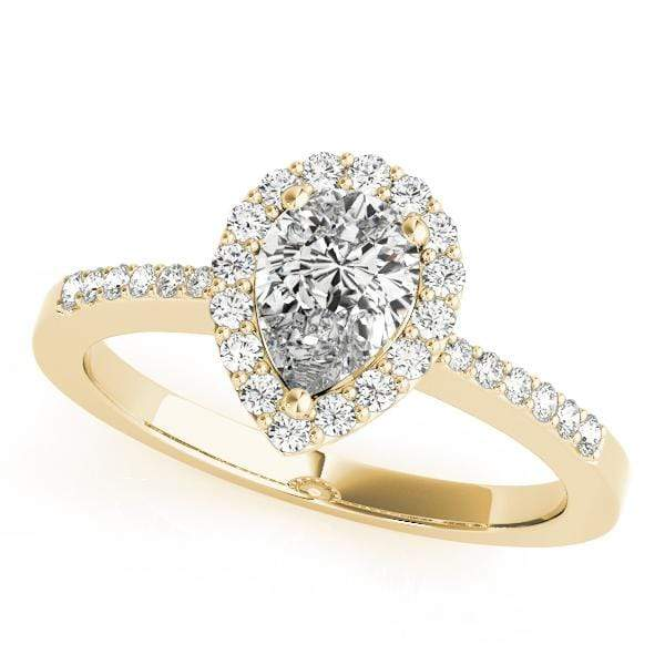 GemFindRing 7 / 14K Yellow Gold / VS1-VS2| F-G / 0.73 ENGAGEMENT RINGS HALO PEAR & TRILLION angelucci-jewelry