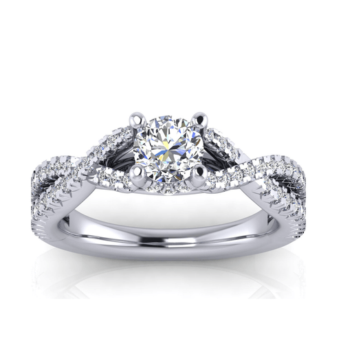 Larger Infinity Round Brilliant Diamond Engagement Ring angelucci-jewelry
