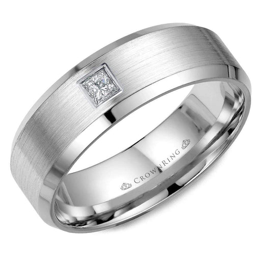 Mens Diamond Wedding Band with Sandpaper Center & High Polish Edge in 14 Karat White Gold angelucci-jewelry