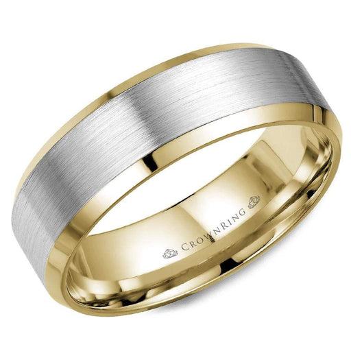 Mens Wedding Band in 14 Karat White Brushed Gold and Yellow Gold angelucci-jewelry