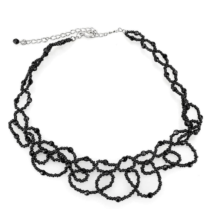 "Necklace 16"" LO4721 Rhodium Brass Necklace with Synthetic in Jet angelucci-jewelry"