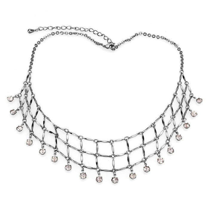 "Necklace 16"" LO4731 Ruthenium White Metal Necklace with Top Grade Crystal in Light Amethyst angelucci-jewelry"