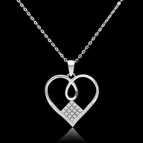 "Necklace 16"" TS062 Rhodium 925 Sterling Silver Necklace with AAA Grade CZ in Clear angelucci-jewelry"