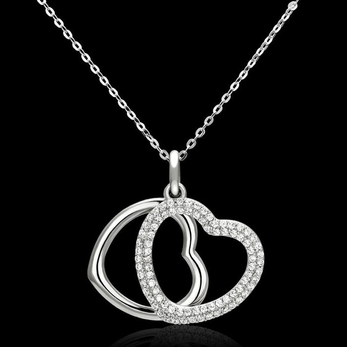 "Necklace 16"" TS128 Rhodium 925 Sterling Silver Necklace with AAA Grade CZ in Clear angelucci-jewelry"
