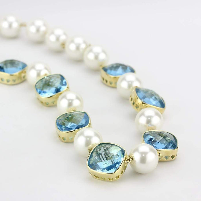 "Necklace 21"" LO4706 Gold Brass Necklace with Synthetic in Sea Blue angelucci-jewelry"