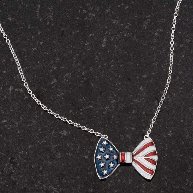 Necklaces .025 Ct Stars and Stripes Bow Tie Necklace with CZ angelucci-jewelry