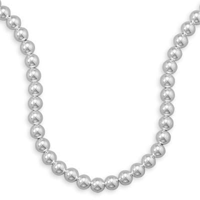 Necklaces 10mm Sterling Silver Bead Strand angelucci-jewelry