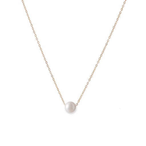 Necklaces 14 Karat Gold Necklace with Cultured Freshwater Floating Pearl angelucci-jewelry