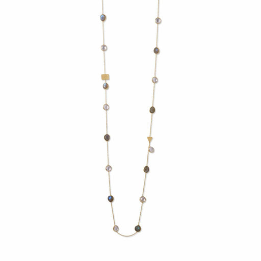 Necklaces 14 Karat Gold Plated Labradorite and Clear Quartz Endless Necklace angelucci-jewelry