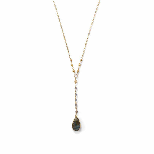 Necklaces 14 Karat Gold Plated Labradorite Drop Necklace angelucci-jewelry