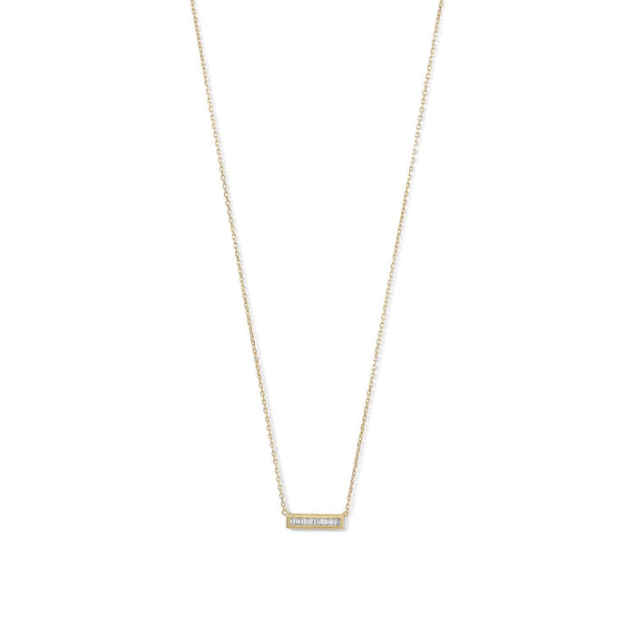Necklaces 14 Karat Gold Plated Mini CZ Bar Necklace angelucci-jewelry
