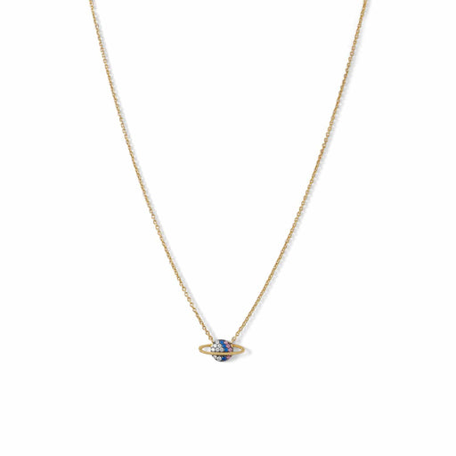 Necklaces 14 Karat Gold Plated Mini CZ Planet Necklace angelucci-jewelry