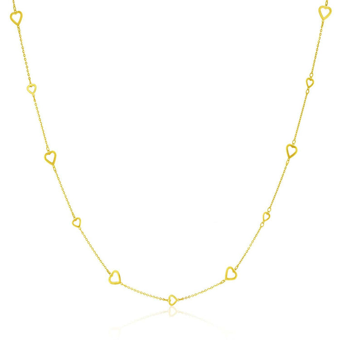 Necklaces 14k Yellow Gold Chain Necklace with Open Heart Stations angelucci-jewelry