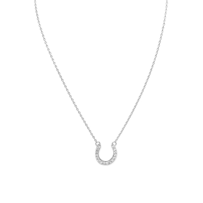 "Necklaces 16"" CZ Horseshoe Necklace angelucci-jewelry"