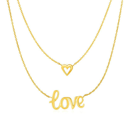 Necklaces 17 / Yellow gold Two Part Love and Heart Necklace in 10k Yellow Gold angelucci-jewelry