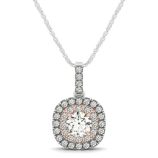 Necklaces 18 / Rose and white gold 14k White And Rose Gold Cushion Shape Halo Diamond Pendant (1/2 cttw) angelucci-jewelry