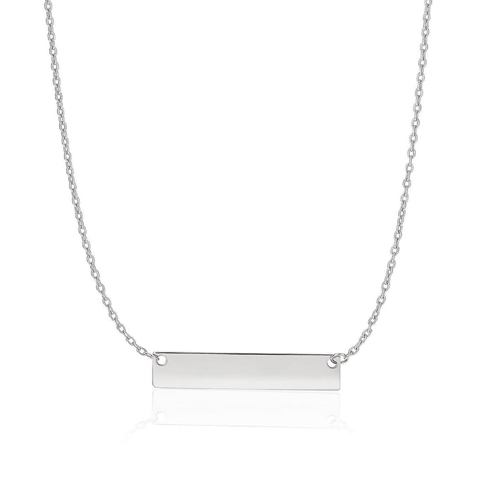 Necklaces 18 / White gold 14k White Gold Smooth Flat Horizontal Bar Style Necklace angelucci-jewelry