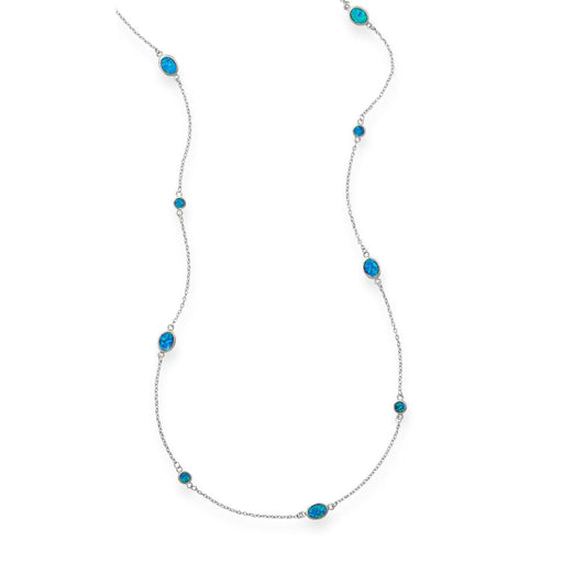 "Necklaces 46"" Multishape Synthetic Blue Opal Necklace angelucci-jewelry"