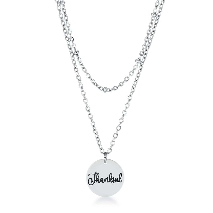Necklaces Delicate Stainless Steel Thankful Necklace angelucci-jewelry