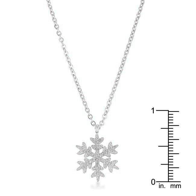 Necklaces Jenna Stainless Steel Silvertone Snowflake Necklace angelucci-jewelry