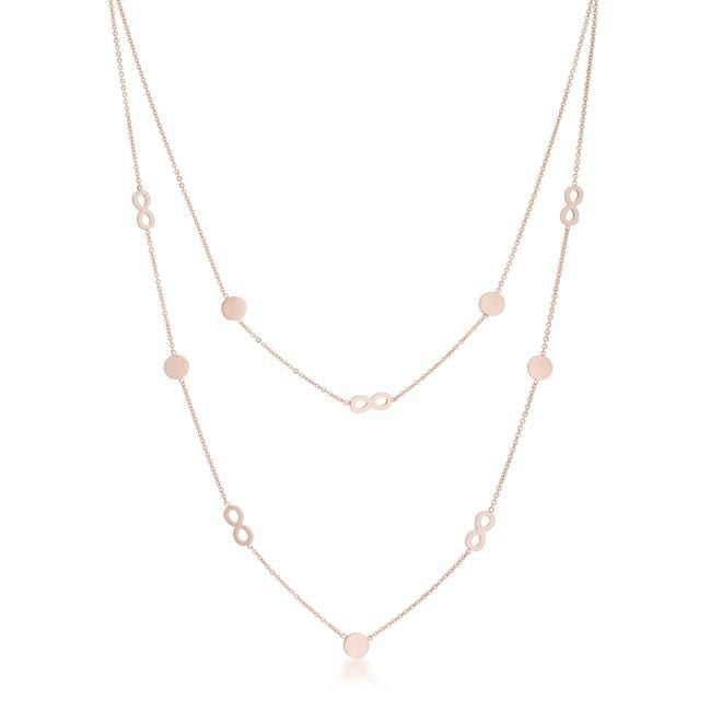 Necklaces Krystal Rose Gold Stainless Steel Infinity Station Layer Necklace angelucci-jewelry